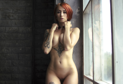 redhead, boobs, shaved pussy, piercing, belly, pierced navel, hips, curvy, tattoo, window, tits wallpaper