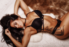tanned, closed eyes, tattoo, lying on back, black lingerie, armpits wallpaper