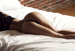 tanned, ass, black lingerie, in bed, pillow, back, thong, sexy ass wallpaper