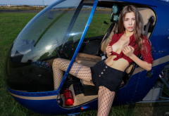 mila azul, model, fishnets, helicopter, tits, out, brunette wallpaper