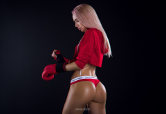 dyed hair, ass, tanned, red panties, boxing gloves, calvin llein, sexy ass, boxing wallpaper