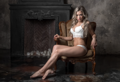 blonde, sitting, white lingerie, sexy, legs, fireplace wallpaper