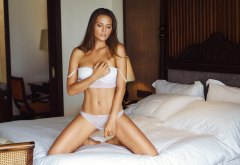 nikolas verano, underwear, white lingerie, white panties, kneeling, in bed, bra, panties wallpaper