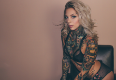 madison skye, model, tattoo, inked girls, blonde, couch, underwear, lingerie, bra, panties wallpaper