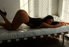 tanned, ass, in bed, high heels, window, monokini, black lingerie, sexy ass wallpaper