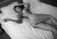 nude, ass, in bed, pillow, boobs, fake tits, monochrome wallpaper