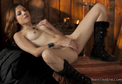 evilyn, evilyn fierce, redhead, tits, shaved pussy, naked, boots wallpaper
