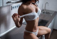 white lingerie, tanned, sitting, belly, kitchen, tattoo, white bra, white panties wallpaper