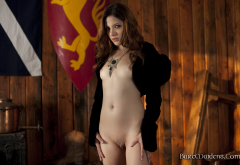 evilyn, evilyn fierce, redhead, sexy, shaved pussy, small tits wallpaper