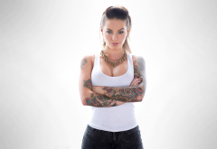 christy mack, model, brunette, tattoo, arms crossed, pornstar, non nude wallpaper