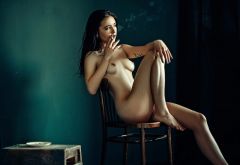 naked, brunette, sitting, tits, nipples, chair, cigarettes, smoking wallpaper