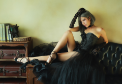 legs, asian, model, corset, couch, gloves, black dress, sexy wallpaper