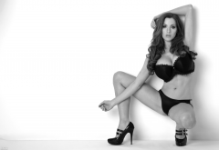 jordan carver, monochrome, big boobs, model, lingerie, women, high heels, brunette, busty, bra, panties wallpaper