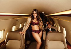 ashley graham, model, brunette, long hair, cleavage, animals, cat, men, curvy, lingerie, aircraft, buisness jet, private jet wallpaper