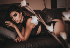 tanned, ass, couch, black lingerie, brunette wallpaper