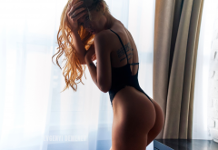 ass, redhead, tattoo, black lingerie, sexy ass, ass, tanned wallpaper