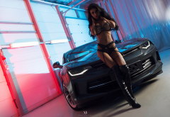 knee-high boots, tanned, tattoo, black lingerie, cars, lingerie wallpaper