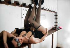 glasses, legs up, boobs, tattoo, lingerie, stockings, black stockings wallpaper