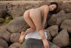 agatha, rocks, beach, naked, shaved pussy, labia, brunette, ass, anus, doggy, boobs, tits, feet wallpaper