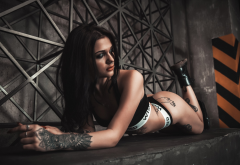 ass, tanned, nose rings, underwear, boots, tattoo, brunette wallpaper