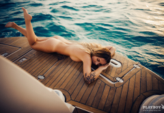carolin pauli, playboy, yacht, sea, tanned, tits, naked, ass, legs, tattoo wallpaper