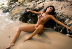 meyrielle abrantes, beach, wet, tanned, naked, spread legs, shaved pussy, boobs, tits, brunette, playboy, sea wallpaper
