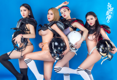chinese models, football player, lingerie football league, group, socks, model, underwear, boobs, tits, panties wallpaper