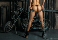 chains, ass, black panties, tanned, high heels, motorcycle, bike, sexy wallpaper