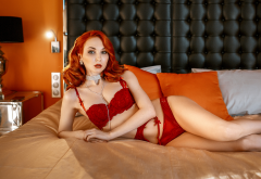 redhead, in bed, red lingerie, lamp, pillow, red lipstick, panties, bra wallpaper