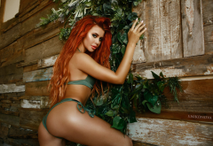 dana bounty, tanned, redhead, ass, long hair, green bikini, sexy wallpaper
