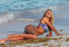 candice swanepoel, bikini, beach, tanned, legs, blonde, sea wallpaper