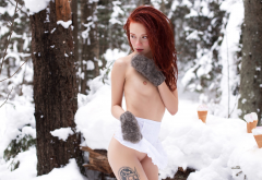 redhead, nude, snow, gloves, tiny tits, tattoo, dreadlocks, shaved, nose ring, winter wallpaper