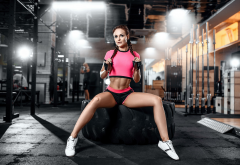 sportswear, gym, tire, pigtails, sexy belly, shorts, sneakers, sitting, gloves, brunette, legs, sporty wallpaper