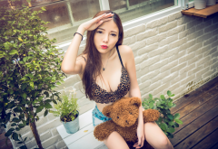 model, asian, bra, jean shorts, necklace, teddy bear wallpaper