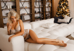 ekaterina enokaeva, blonde, tanned, lingerie, couch, christmas tree, bra, sexy legs, hot wallpaper