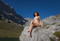 perfect, susann, boobs, big tits, legs, naked, smiling, brunette, mountains wallpaper