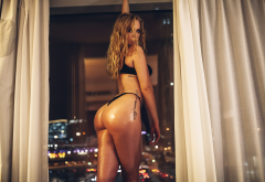 tanned, ass, window, bokeh, black lingerie, tattoo, hair in face, oiled, big ass, lingerie wallpaper