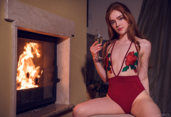 jia lissa, redhead, model, fireplace, monokini, sitting, sexy, champagne, glass, swimsuit wallpaper