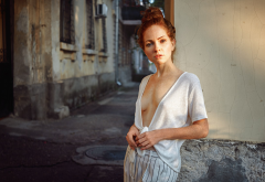 model, redhead, blouse, street, sexy, tits wallpaper