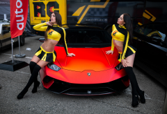 lamborghini, belly, black stockings, long hair, ribs, miniskirt, 2 girls wallpaper