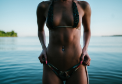 tanned, bikini, belly, the gap, outdoors, sea, pierced navel, sexy, tits, lake wallpaper