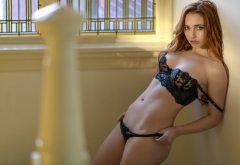 sophia blake, black lingerie, belly, window, holding panties, redhead, panties, bra, black bra, black panties wallpaper