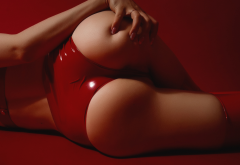 ass, red background, latex, hands on ass, tanned, sexy ass wallpaper