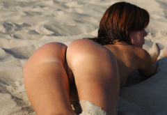 ass, tanned, puddy, beach, labia, hot, redhead wallpaper