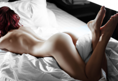 redhead, nude, back, ass, pillow, in bed, naked, feet wallpaper