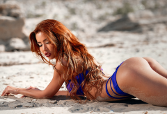 tanned, ass, blue bikini, redhead, closed eyes, sand, arched back, sand covered, beach, hot wallpaper