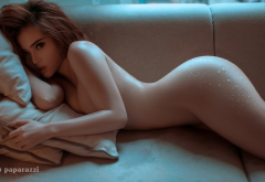 asian, nude, couch, boobs, water drops, wet, ass, sexy wallpaper
