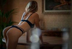 ass, tanned, lingerie, back, blonde, table, plant, panties, bra, sexy ass wallpaper