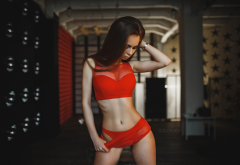 model, lingerie, red lingerie, red clothing, belly, ribs, sexy wallpaper