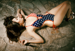 asian, model, brunette, one-piece swimsuit, stars and stripes wallpaper